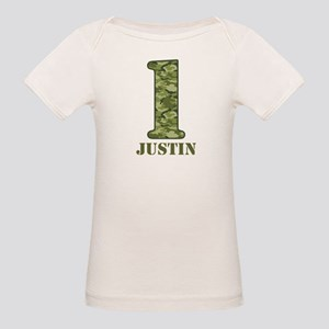 Green Camo 1st Birthday Organic Baby T-Shirt